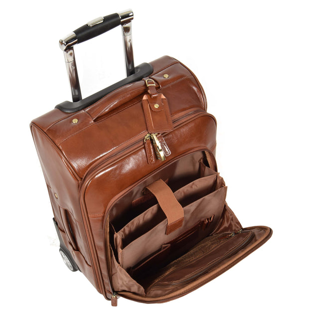 Real Leather Suitcase Cabin Trolley Hand Luggage A0518 Chestnut Front Open