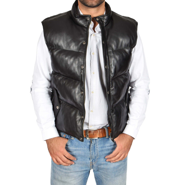 Mens Quilted Leather Waistcoat Body Warmer Gilet Jeff Black Open 2