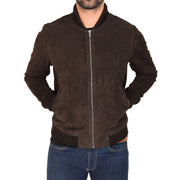 Mens Soft Goat Suede Bomber Varsity Baseball Jacket Blur Brown