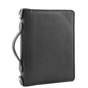 Black Leather A4 Ring Binder File Folio Office Bag Zip Organiser Braga Front 3