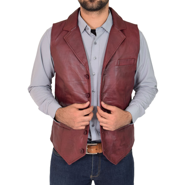 Mens Genuine Soft Leather Waistcoat Western Vest Yelek Rhys Burgundy Open