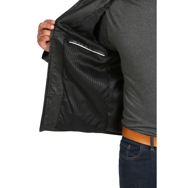 Mens Classic Zip Fasten Box Leather Jacket Tony Black lining view