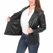 Ladies Leather Blazer Coat Fitted Classic Hip Length Jacket Judy Black Lining