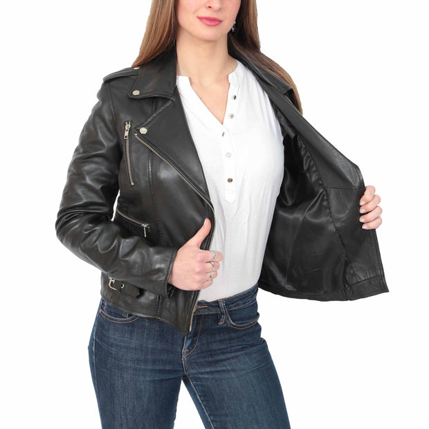 Womens Fitted Trendy Biker Leather Jacket Beyonce Black lining