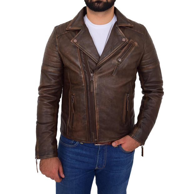 Mens Real Leather Biker Jacket Vintage Copper Rust Rub Off Slim Fit Style Max
