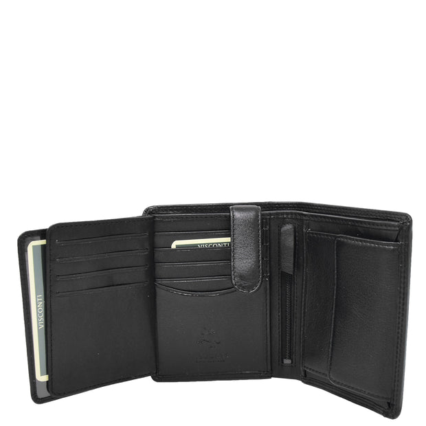 Mens Soft Durable Leather Wallet Cards Coins Notes ID Holder AV111 Black Open 3