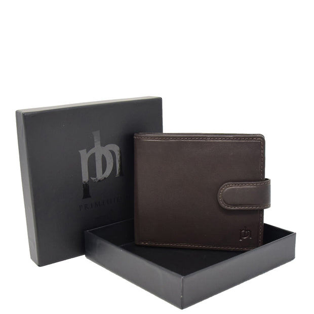 Mens Top Quality Soft Leather Snap Closure Bifold Slim Wallet AL05 Brown With Box
