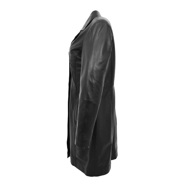 Ladies 3/4 Long Classic Fitted Soft Leather Knee Length Coat Laura Black Side