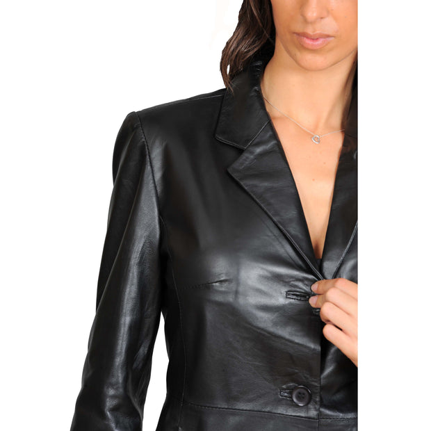 Ladies Real Leather 3/4 Length Fitted Jacket Rachel Black Feature