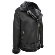 Womens Real Sheepskin Jacket Black X-Zip Aviator Belted Shearling Coat Willow Front Angle 2