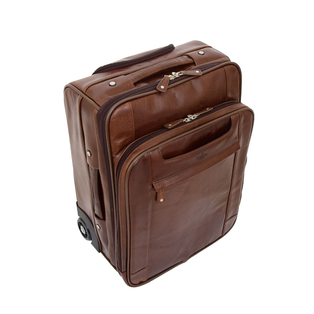 Luxurious Brown Leather Cabin Size Suitcase Hand Luggage Beverley Hills Top