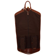 Luxury Leather Suit Carrier Bag Dress Garment Cover Finley Brandy Open