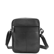 Mens Real Leather Shoulder Bag Cross Body Flight Pouch A155 Black Back