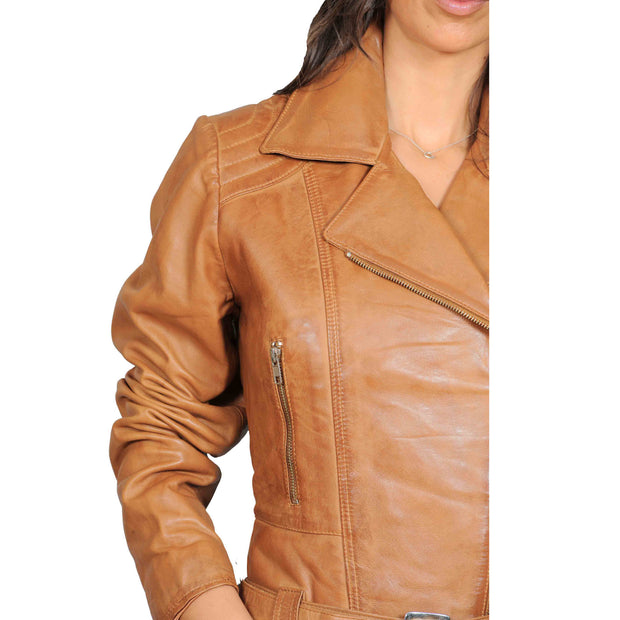 Womens Fitted Mid Length Biker Leather Jacket Hannah Tan Feature 1