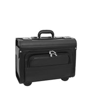 Wheeled Pilot Case Black Faux Leather Briefcase Business Rep Cabin Bag Dallas Front 3