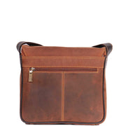 Real Leather Messenger Cross Body Organiser Office Bag Beck Tan Back