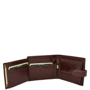 Mens Genuine Italian Leather Snap Closure Wallet AVZ5 Brown Open 3