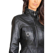 Womens 3/4 Long Zip Fasten Leather Jacket Carol Black feature 1