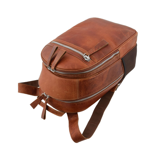 High Quality Genuine Tan Leather Backpack Large Size Work Casual Travel Bag Trek Top