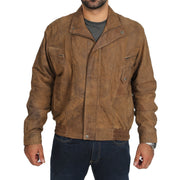 Mens Classic Bomber Nubuck Leather Jacket Alan Brown front view