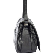 Womens Black Soft Leather Shoulder Cross Body Bag Agnes Side