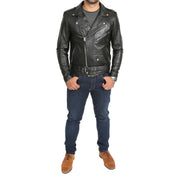 Mens Brando Biker Leather Jacket Elvis Black feat 1
