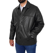 Gents Real Leather Button Box Jacket Classic Regular Fit Coat Luis Black Front 2