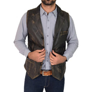 Mens Genuine Soft Leather Waistcoat Western Vest Yelek Rhys Rub Off Open