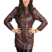 Womens Duffle Leather Coat Detachable Hood 3/4 Long Parka Jacket Mila Brown Front 3