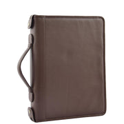 Brown Leather A4 Ring Binder File Folio Office Bag Zip Organiser Braga Front 3