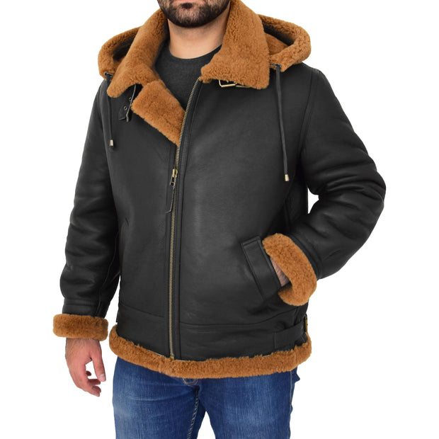 Mens Real Sheepskin Flying Jacket Hooded Brown Ginger Shearling Coat Hawker