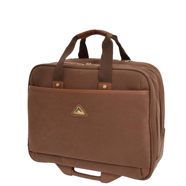 Pilot Case Wheeled Briefcase Camel Faux Suede Business Cabin Bag Stargazer Front Angle