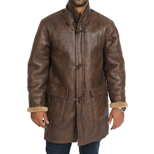 Mens Genuine Sheepskin Duffle Coat 3/4 Long Hooded Jacket Mitchel Brown Front 2