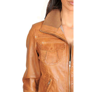 Womens Slim Fit Bomber Leather Jacket Cameron Tan Feature 1