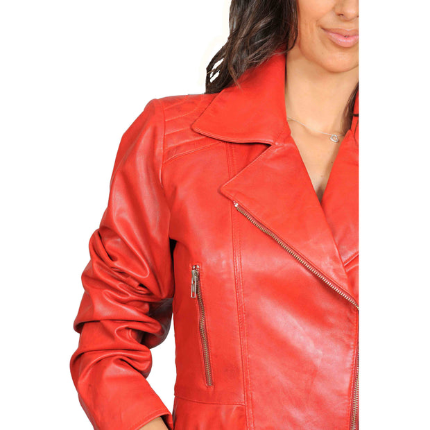 Womens Fitted Mid Length Biker Leather Jacket Hannah Red Feature 1