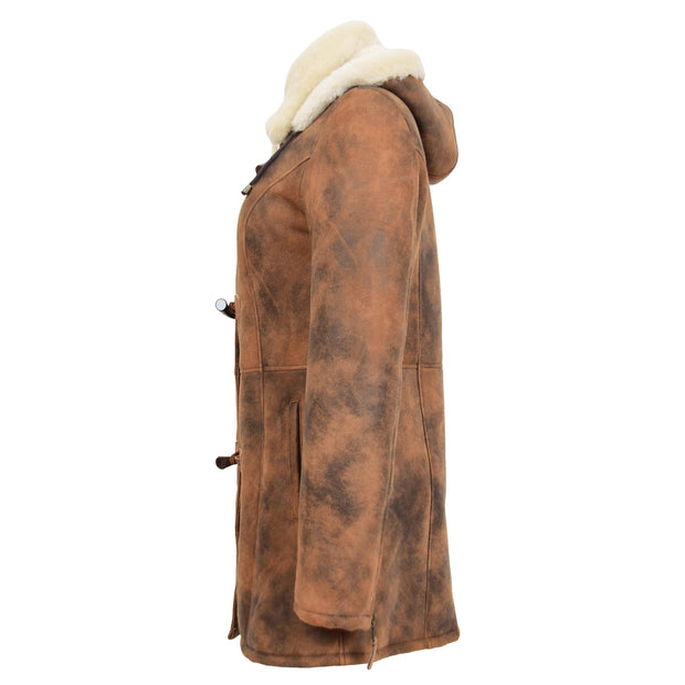 Womens Real Sheepskin Duffle Coat Hooded Shearling Jacket Armas Cognac Side