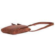 Real Leather Cross Body Vintage Distressed Look Messenger Flight Bag A650 Tan Letdown