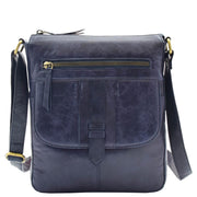 Womens Genuine Soft Vintage Leather Crossbody Messenger Bag Jill Navy 4