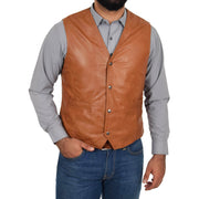 Mens Soft Leather Waistcoat Classic Gilet Bruno Tan main view