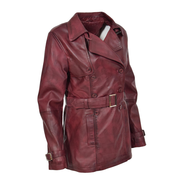 Womens Soft Leather Trench Coat Olivia Burgundy Front 4