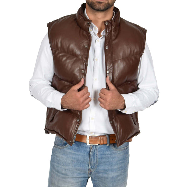 Mens Quilted Leather Waistcoat Body Warmer Gilet Jeff Brown Open 2
