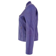 Womens Fitted Leather Biker Jacket Casual Zip Up Coat Jenny Purple Side