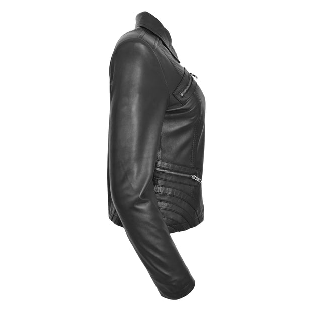Ladies Soft Leather Jacket Fitted Collared Zip Fasten Biker Style Leah Black Side