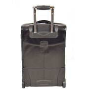 Real Leather Suitcase Cabin Trolley Hand Luggage A0518 Black back