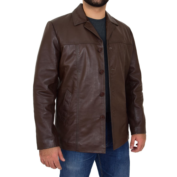 Mens Casual Leather Jacket Hip Length Brown Reefer Blazer Coat Harold Open 2