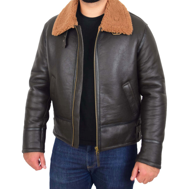 Mens Original Sheepskin Flying Jacket B3 Bomber Aviator Pilots Shearling Coat Raptor Brown/Ginger 5