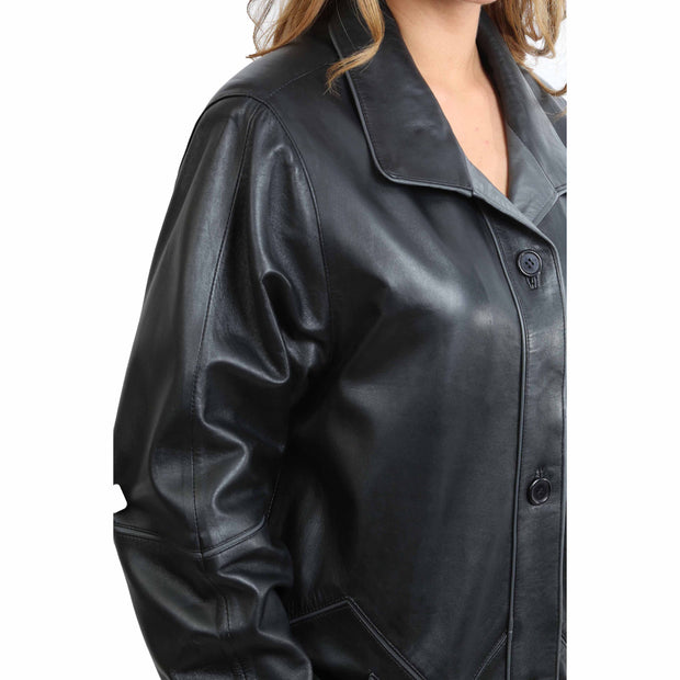 Ladies Classic Parka Real Leather Coat Trim Jacket Lulu Black-Grey Feature 2
