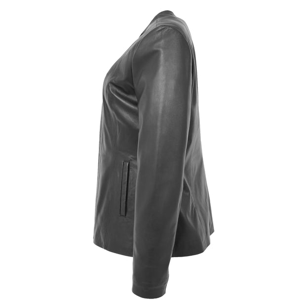 Womens Collarless Black Leather Jacket Round Neck Semi Fit Chelo Side