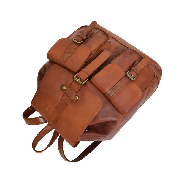 Genuine Vintage Rust Leather Backpack Large Organiser Rucksack AB99 Letdown