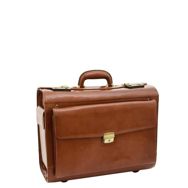 Exclusive Real Cognac Leather Pilot Case Wheeled Cabin Bag Briefcase London Front 2